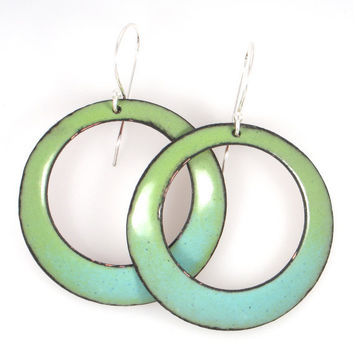 Handmade Hanging Green and Turquoise Earrings