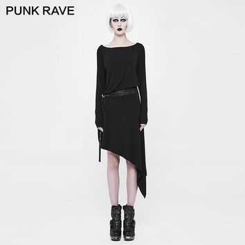 PUNK RAVE Punk Snakeskin Belts Asymmetric Black Dress Waistband Adjustable Knitted Soft Loose Simple Daily Wear Women Clothing