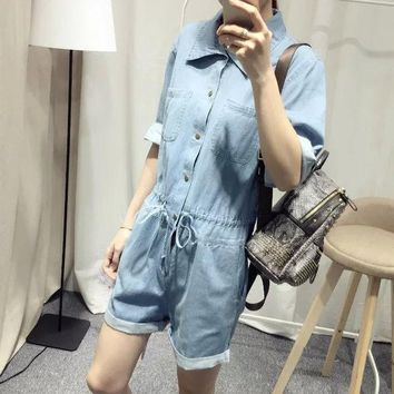 PEAPIX3 Summer Korean Casual Shaped Three-quarter Sleeve Denim Romper [4933131780]