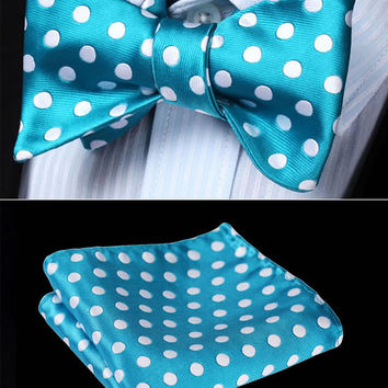 Men's Self Tie Bowtie Pocket Square Set - Teal and White Polka Dot