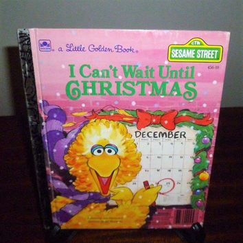 "Vintage 1989 Sesame Street's ""I Cant Wait Until Christmas"" - A little Golden Book / Kids Book / Great Condition / Big Bird and Friends"