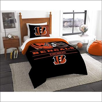 """Bengals OFFICIAL National Football League, Bedding, """"""""Draft"""""""" Printed Twin Comforter (64""""""""x 86"""""""") & 1 Sham (24""""""""x 30"""""""") Set  by The Northwest Company"""