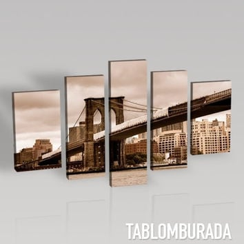 CANVAS WALL ART  - Brooklyn Bridge Canvas Print + 5 Panel + Canvas Art Printing + Canvas Painting for Wall Decor