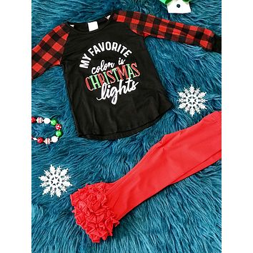My Favorite Color Is Christmas Kids Plaid Long Sleeve Shirt