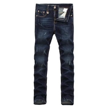 Men Slim Ripped Holes Pants Stretch Jeans [6528366275]