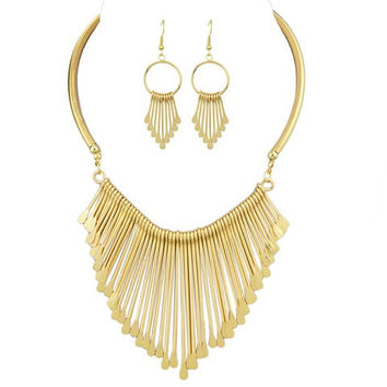 Gold Tassel and Water Drop Cut Out Necklace and Earrings