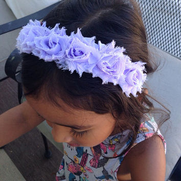 Lavender Color Shabby Chic Fabric Flower Crown Headband, Baby Girl Crown Headband, Newborn Crown Headbands, Women Flower Crown Headband