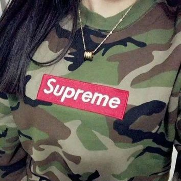 Supreme Pullovers Hoodie Camo Amry Green [2974244282]