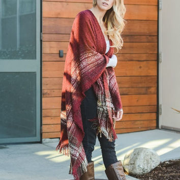 Red Mohair Fringe Trim Plaid/Poncho