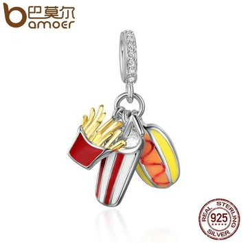 BAMOER Genuine 925 Sterling Silver Delicacy Temptation Tasty Food Pendant Charms fit Women Charm Bracelets DIY Jewelry SCC347