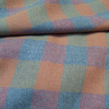 "Box Plaid Cotton Flannel Fabric Gray/Tan/Rust 60"" Wide Sold by the HALF YARD (45 cm)"
