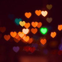 Bokeh Hearts City Lights Instant Digital Download Art Photography Printable, yellow and purple valentine's day texture, abstract photography