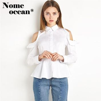 Cut Out Off Shoulder OL Shirts Preppy Style Peplum Blouse 2018 Summer Long Sleeve Women Shirts Hollow Out White Shirt M16101910