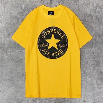 Converse New fashion letter star print couple top t-shirt Yellow