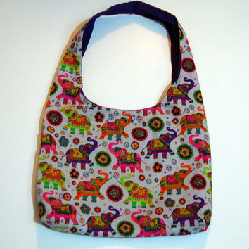 Painted elephants purse. Elephant purse, shoulder bag, hobo, slouch bag