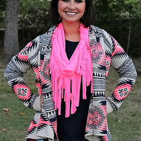 On A Whim Navy Blue and Neon Pink Aztec Cardigan