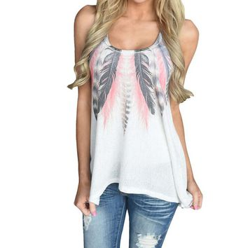 Women Feather Sleeveless Shirts Blouse Casual Tank Tops T-Shirt