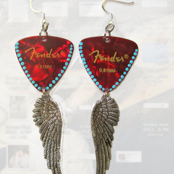 Winged Red and Turquoise Fender Guitar Pick Earrings