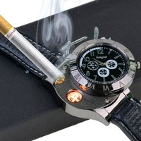 en's Wristwatch with USB Rechargeable Electric Windproof Cigarette Lighter