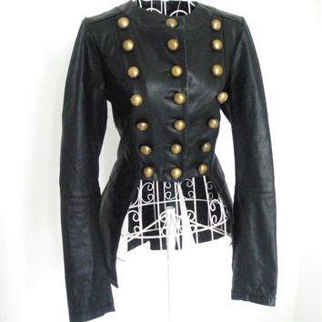 SALE Vintage Leather Gothic Military jacket Steampunk Victorian Burlesque tailcoat jacket tail coat frock coat 10 8 S