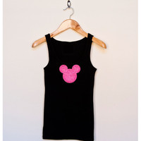 WOMENS GLITTER MICKEY Minnie Tank Top by ColorChaos on Etsy