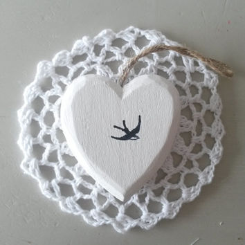 White heart, handstamped, swallow, bird decor, rustic heart, heart door hanger, bird nursery decor, wooden heart, heart door hanging