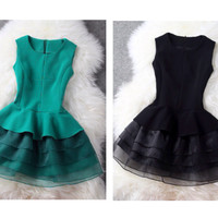 Milena Green or Black Baby Doll A-Line Dress w/ Organza Layered Skirt