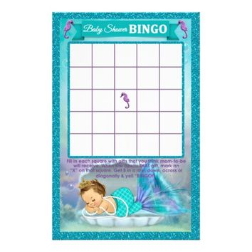 "Mermaid Baby Shower Bingo Game Card #130 5.5"" X 8.5"" Flyer"