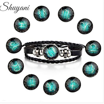 12PCS Punk 12 Zodiac Signs Handweave Leather Bracelet Homme 12 Constellations Bracelet with Beads Bangle for Men Boys Gift