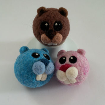 Beaver Ball or Ornament- Needle Felted  - MADE TO ORDER