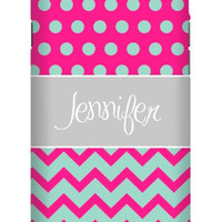 Half Chevron Polka Dot Personalized iPhone 6 Extra Protective Bumper Case