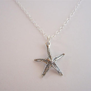 Sterling Silver Starfish Necklace, nautical pendant