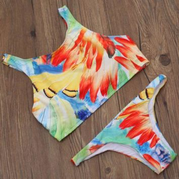 PEAPIH3 NEW hot sale fashion sexy feather print vest two piece bikini