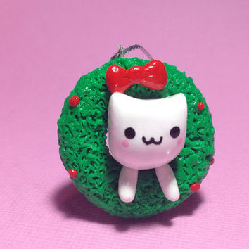 Kawaii Kitty in Christmas Wreath Polymer Clay Ornament