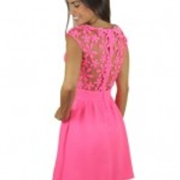 Neon Pink Short Lace Dress