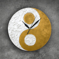 Ying Yang Wall Clock, Modern WALL CLOCK, Zen home decor, Unique wall clock, feng shui decor,