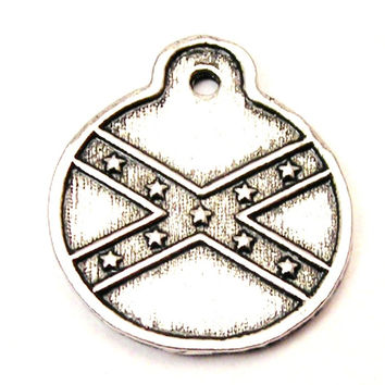 Confederate Flag Circle Genuine American Pewter Charm