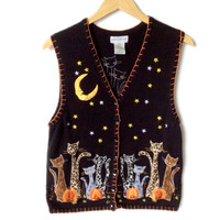 Skinny Kitty Cats Tacky Halloween Ugly Sweater Vest