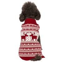 "Blueberry Pet Pack of 1 Clothes for Dogs,  Back Length 12"",  Fancy Vintage Christmas Reindeer Holiday Festive Dog Sweater in Burgundy Red"