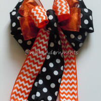 Black and Orange Bow Chevron and Polka Dots Birthday Decoration Wedding Pew Bow Halloween Wreath Bow