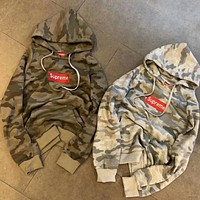 Supreme Popular Women Men Casual Camouflage Letter Embroidery Hoodies Sweater Top I-CR-CP-WM-YD