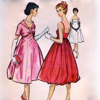 Vintage 50s Sewing Pattern - Empire Waist Formal Evening Dress with Bubble Skirt & Matching Bolero Jacket - 1958 McCall's 4690, Bust 36