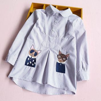 Baby Girls Autumn Blouses Girls Long Sleeve Cat Shirts Print Kids Striped Embroidery Shirts Girls Blouses