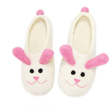 Women Pink Bunny Felted Slippers, Easter Bunny Rabbit Slippers, Wool House Shoes, Easter Gifts for Her, Animal Slippers, Rubber Soles