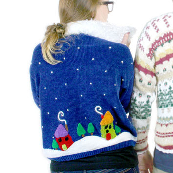 """""""Santa's Sleigh Over the Rooftops"""" Fuzzy Collar Ugly Christmas Sweater - The Ugly Sweater Shop"""