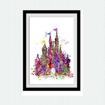 Cinderella castle watercolor print, Cinderella colorful poster, fairy tail, silhouette, nursery, kids room, gift, home decor, abstract,  W77