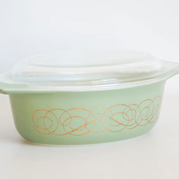 Vintage PROMO Pyrex Sage Green Gold Scroll Oval Casserole with Lid, 1 1/2 QT Baking Dish