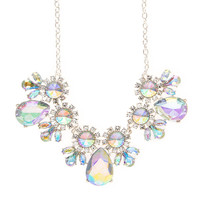 Brittney Iridescent Crystal Flowers and Teardrops Statement Necklace