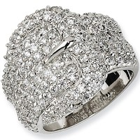 Sterling Silver Cubic Zirconia Buckle Ring by Cheryl M