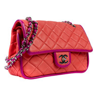 Chanel Orange Flap Bag with Purple Piping